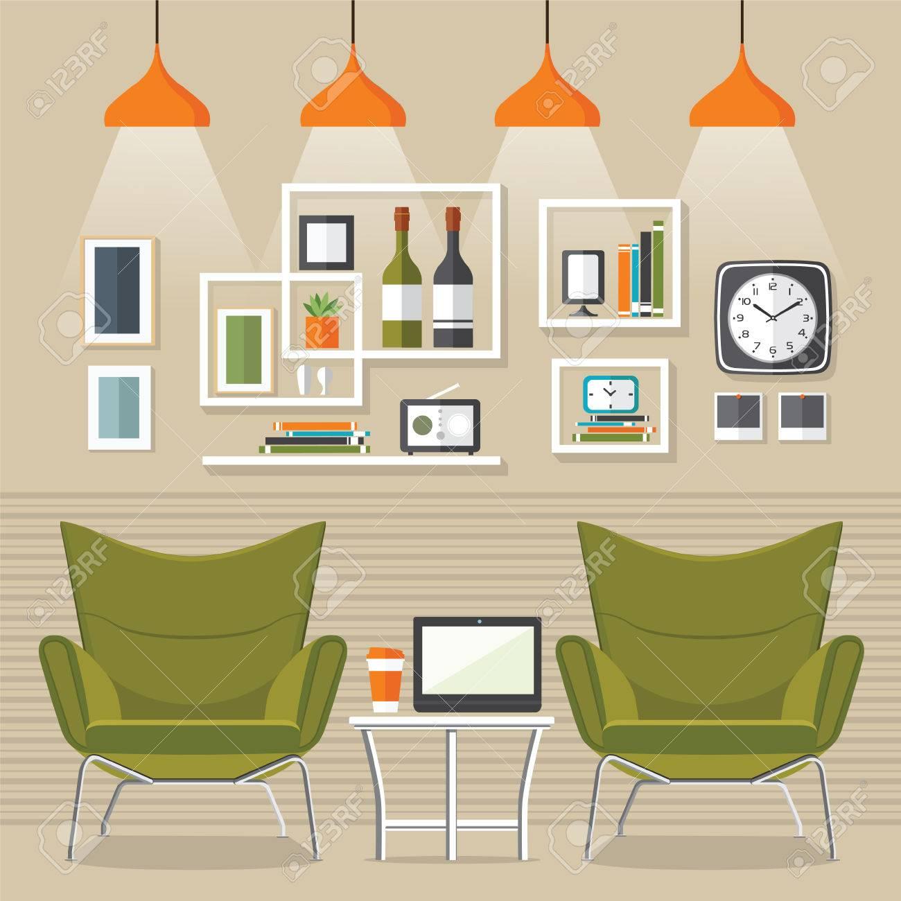 Interior Living Room With Sofa, Clock, Shelf With Books And A ...