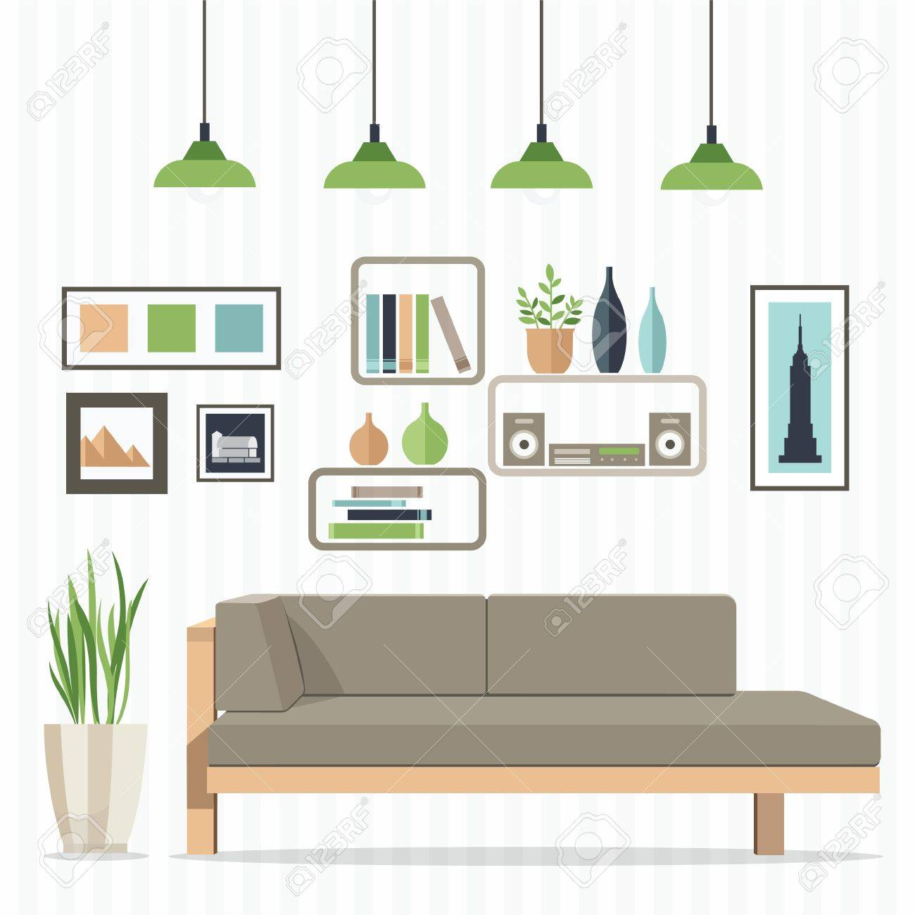 Flat Design Vector Illustration Of Modern Home Interior With