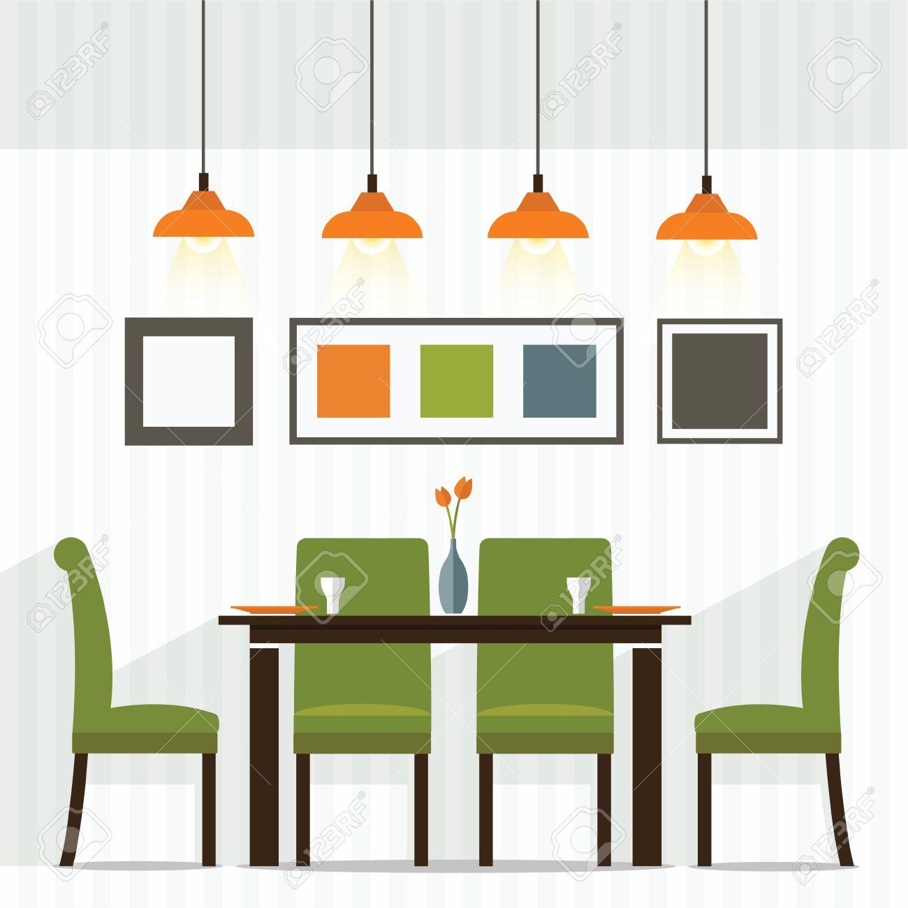 Flat Design Interior Dining Room Vector Illustration Stock Vector   53612429