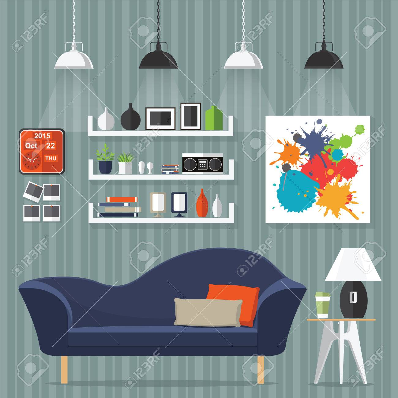 Interior living room with sofa, clock, shelf with books and a Flat style vector illustration. - 53612481