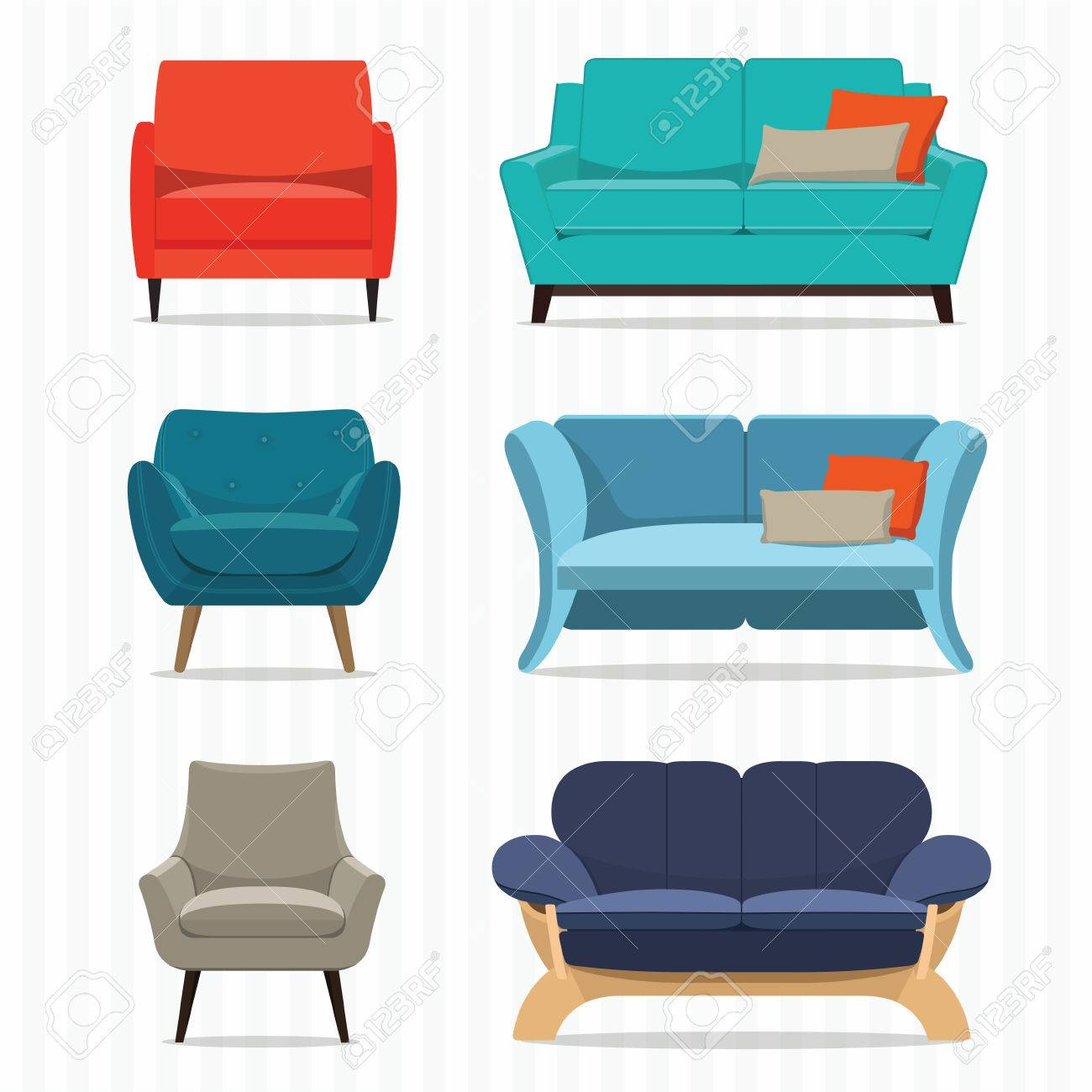 Living Room Furniture Design Concept Set With Modern Home Interior Elements  Isolated Vector Illustration Stock Vector
