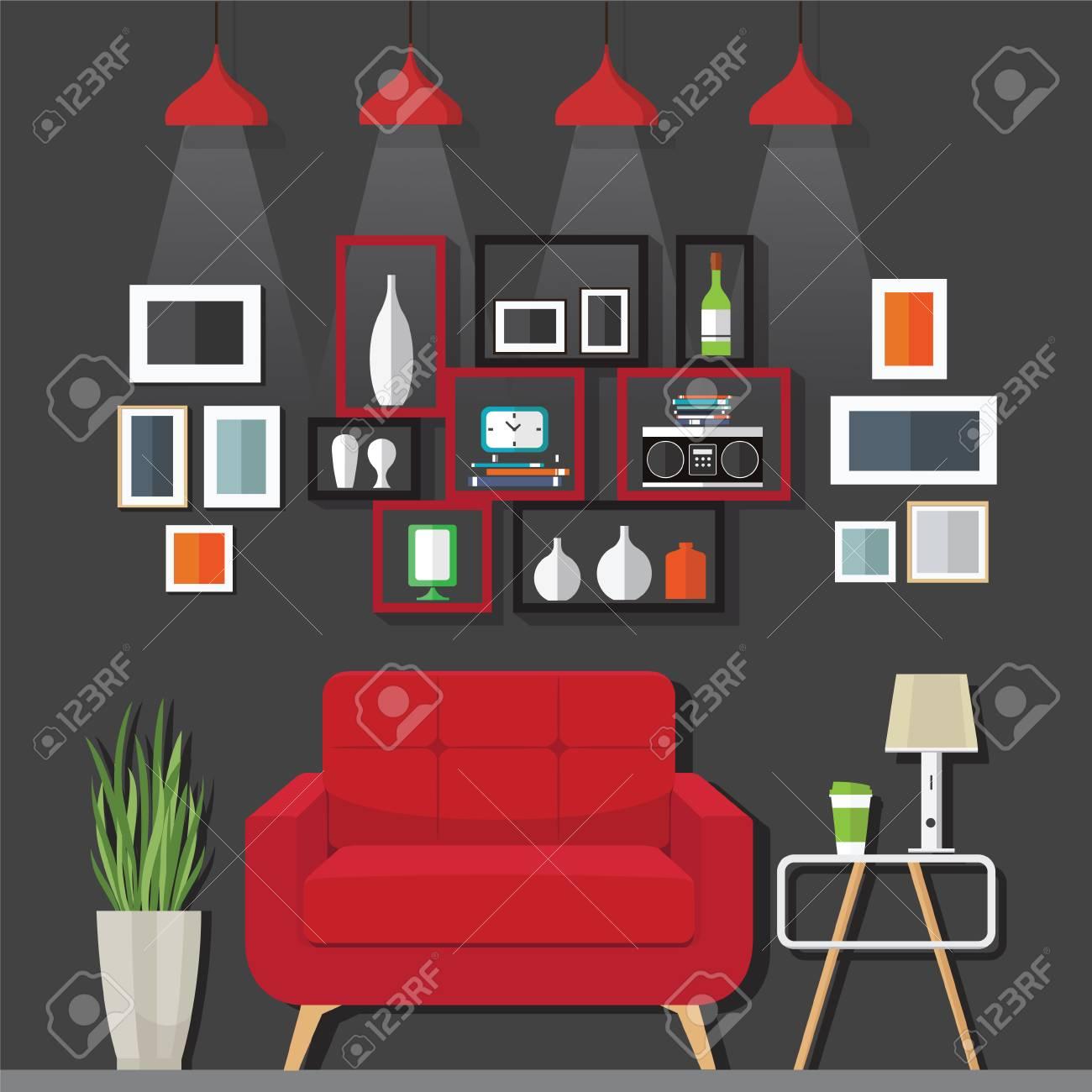 Innen Wohnzimmer Mit Sofa, Uhr, Regal Mit Bücher Und Eine  Vektor Illustration Wohnung