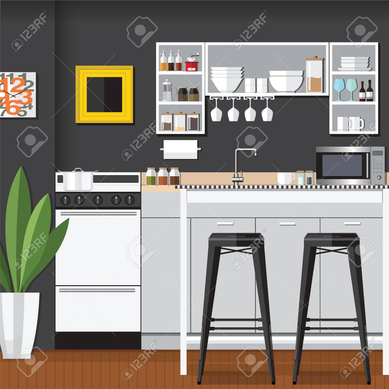 Modern Flat Design Küchen-Bar Inter Illustration Lizenzfrei Nutzbare ...