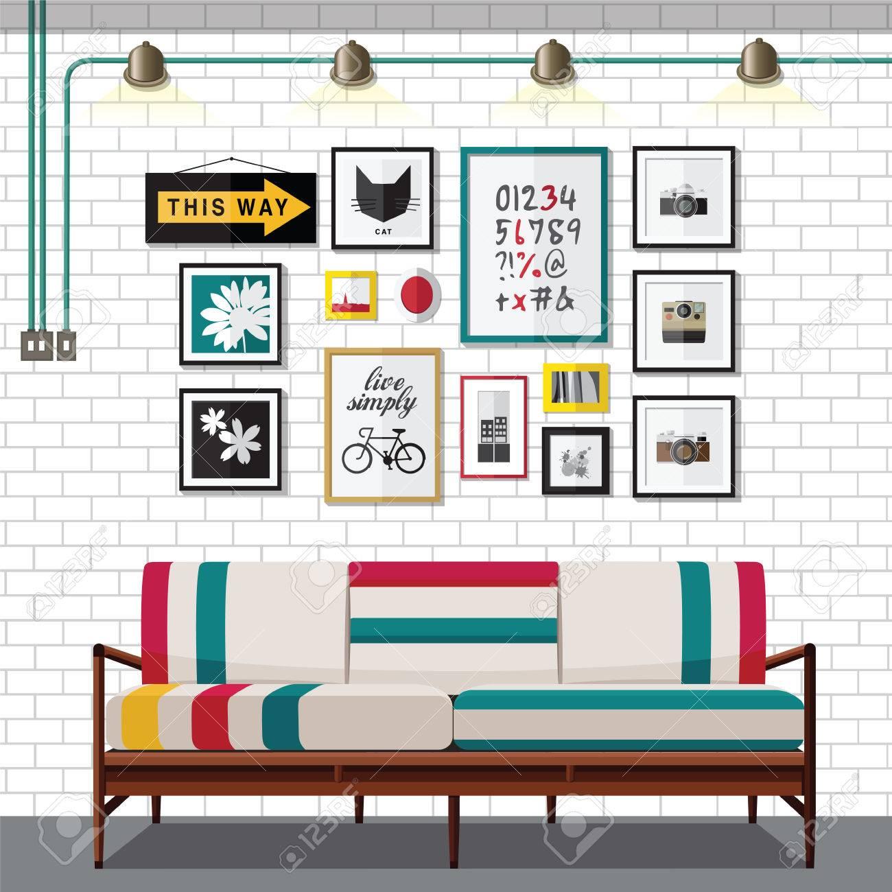 inter wohnzimmer mit sofa ein regal mit bucher und eine wohnung stil abbildung standard