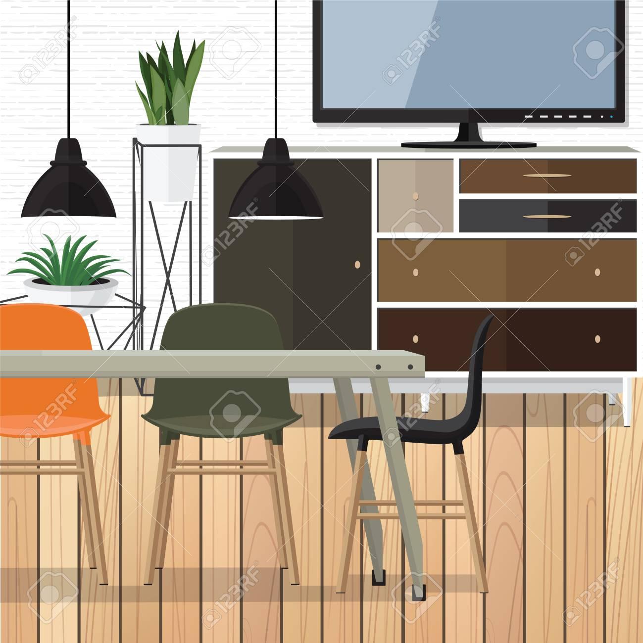 Flat Design Interior Dining Room Vector Illustration Stock