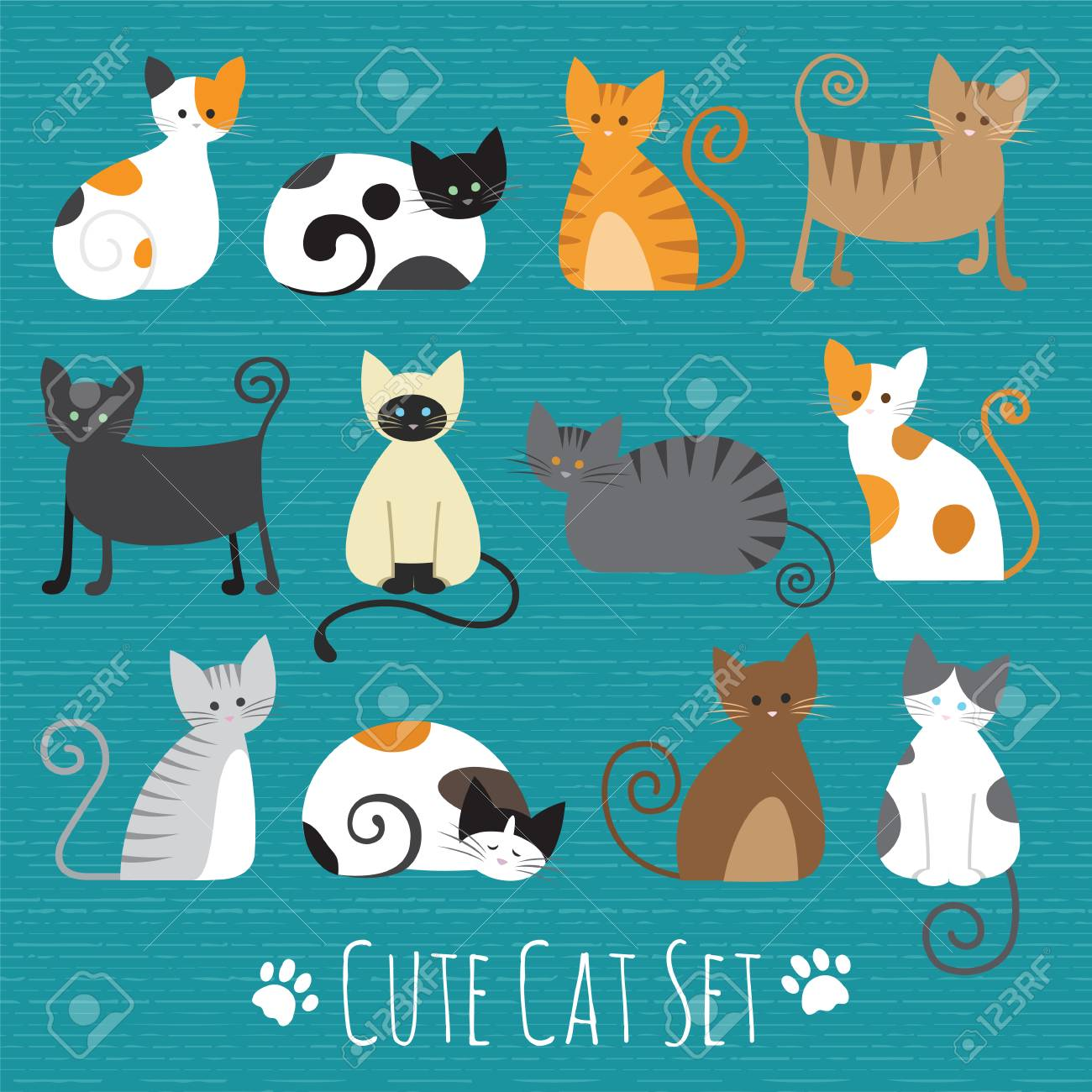 Cat Set With White Grey Orange Brown Black Cute Cats Flat Royalty Free Cliparts Vectors And Stock Illustration Image 73776821