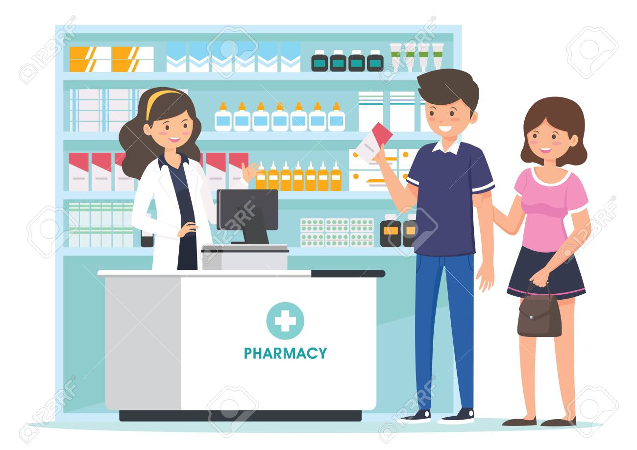 Pharmacy With Pharmacist In Counter And People Buying Medicine Royalty Free Cliparts Vectors And Stock Illustration Image 134730032