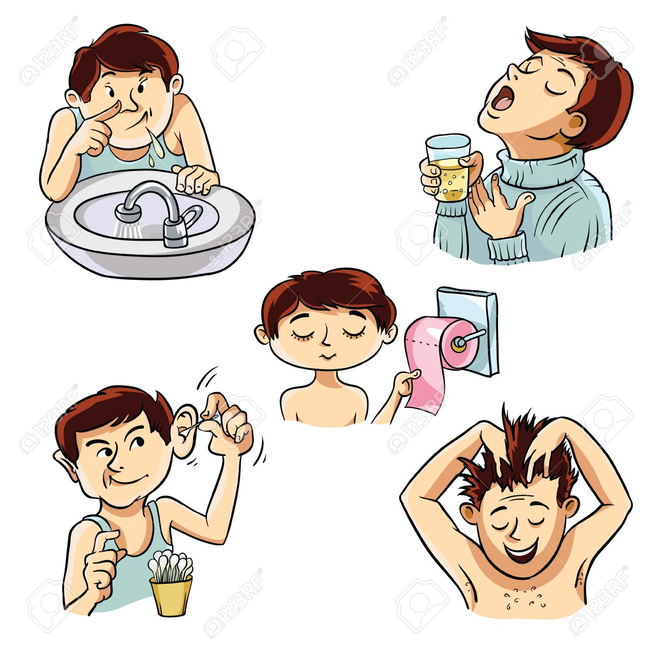 four images of a person involved in personal hygiene royalty free