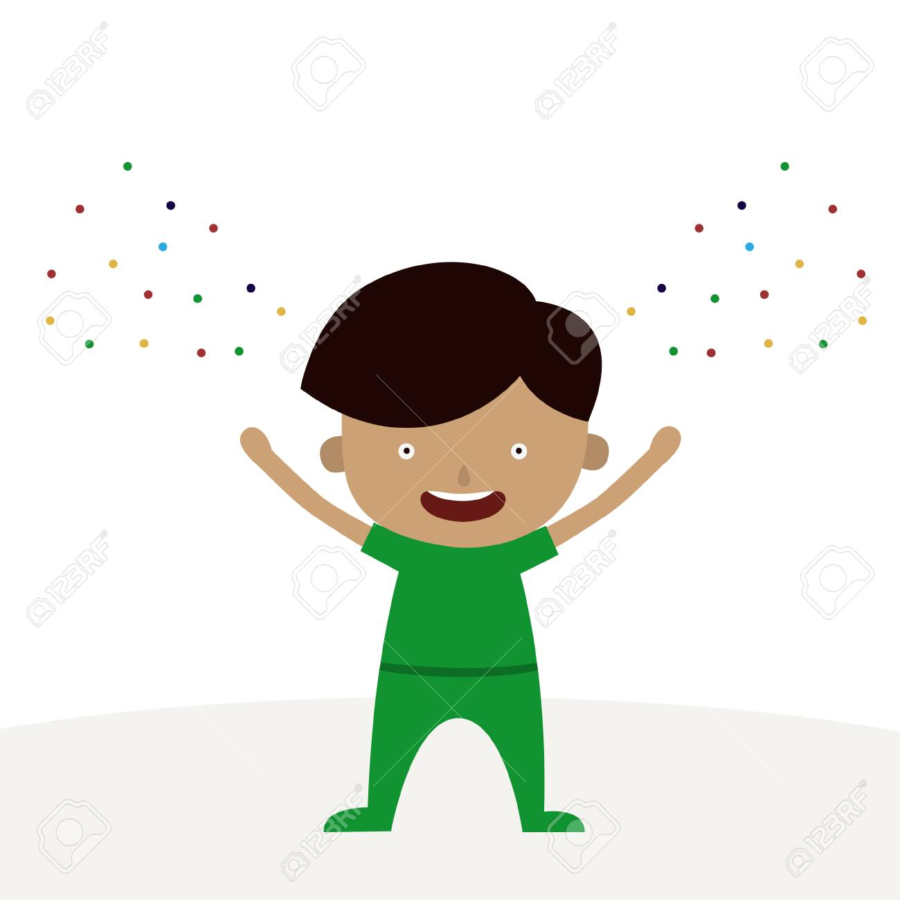 A Happy Boy Cartoon Character Is Happy Wednesday Theme Royalty Free