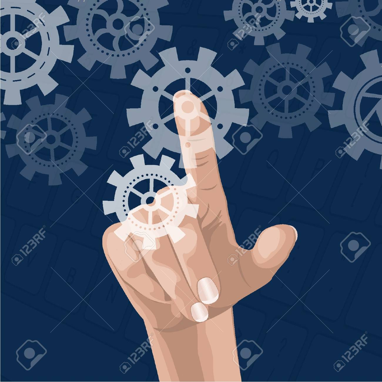 Touch screen with gears Stock Vector - 18134215