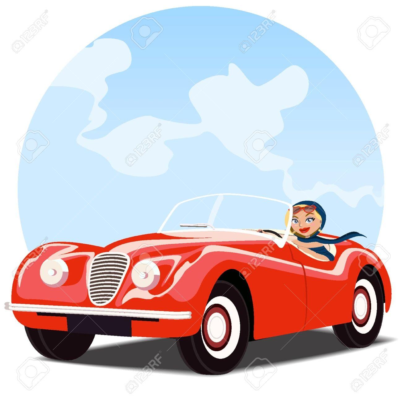Chica en el viejo coche convertible rojo Foto de archivo - 18134196