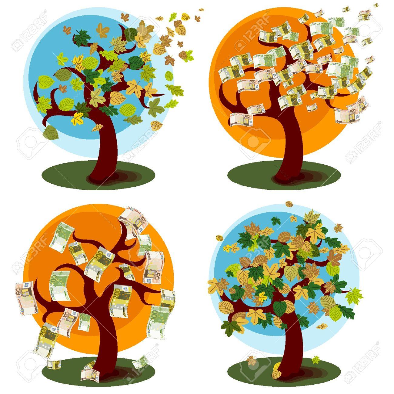Árbol de dinero y el árbol con hojas de otoño Foto de archivo - 18134349