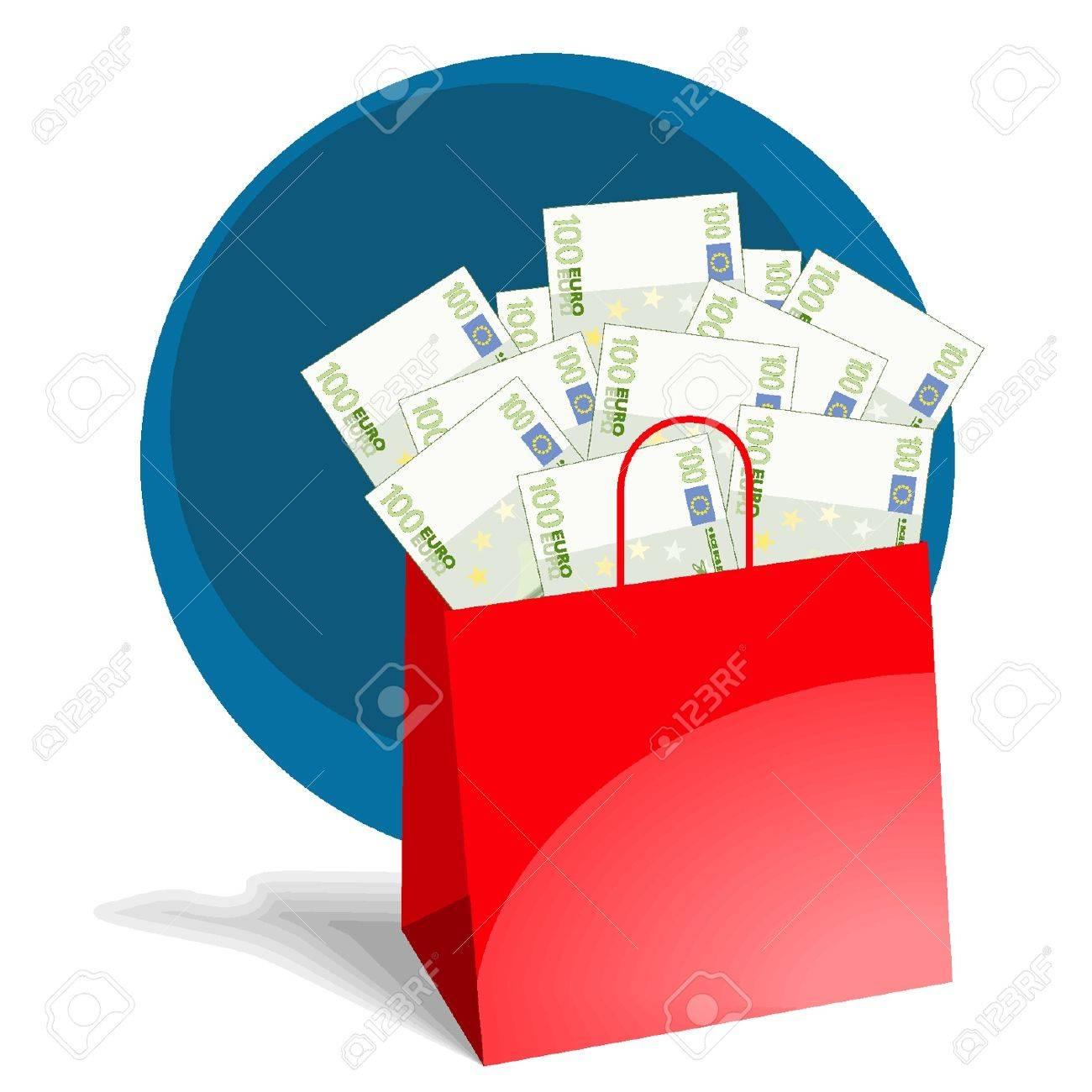 Cesta llena de dinero bolsa Foto de archivo - 18134344