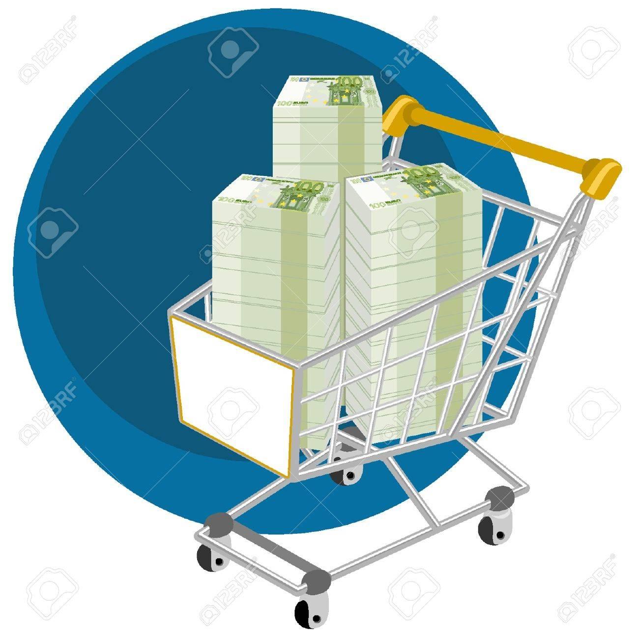 Cesta llena de dinero compra Foto de archivo - 18134343
