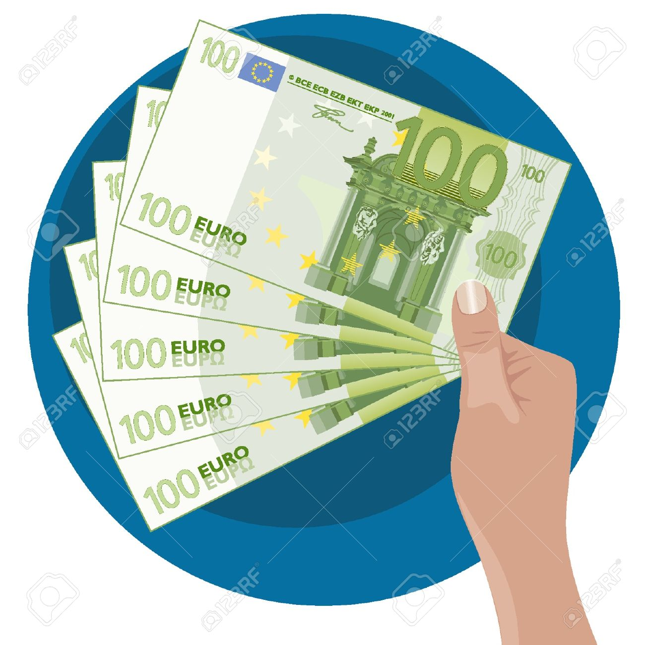 Mano que muestra cinco 100 billetes de euro Foto de archivo - 18134335