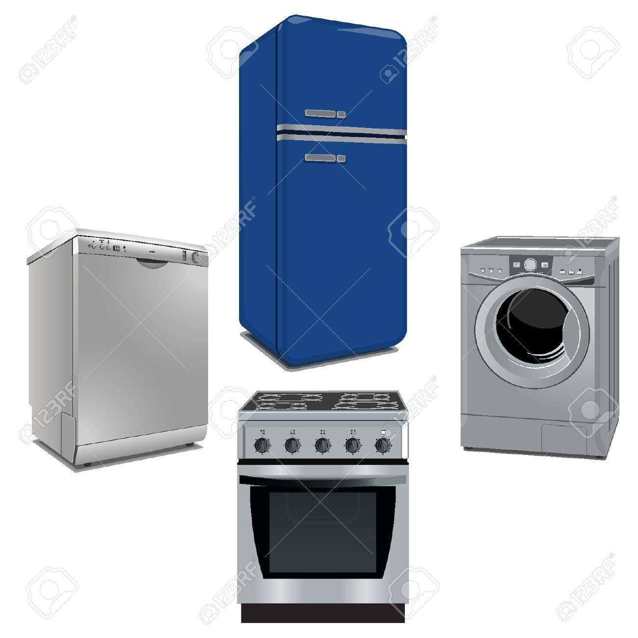Algunos electrodomésticos importantes y cocina Foto de archivo - 18134269