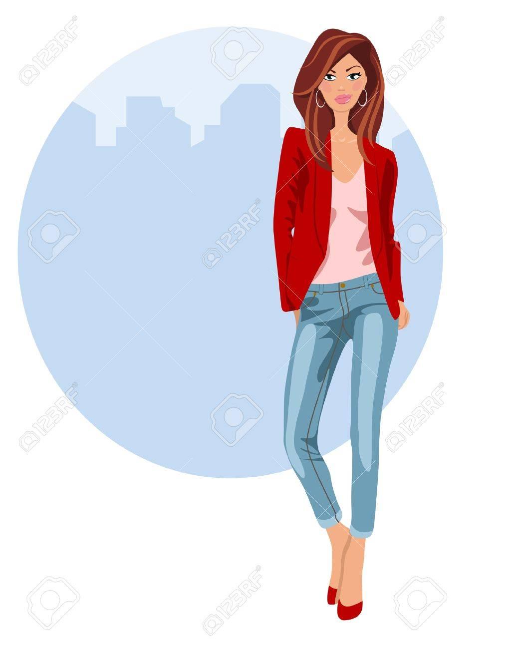Mujer joven en pantalones vaqueros y zapatos de tacón Foto de archivo - 18134226