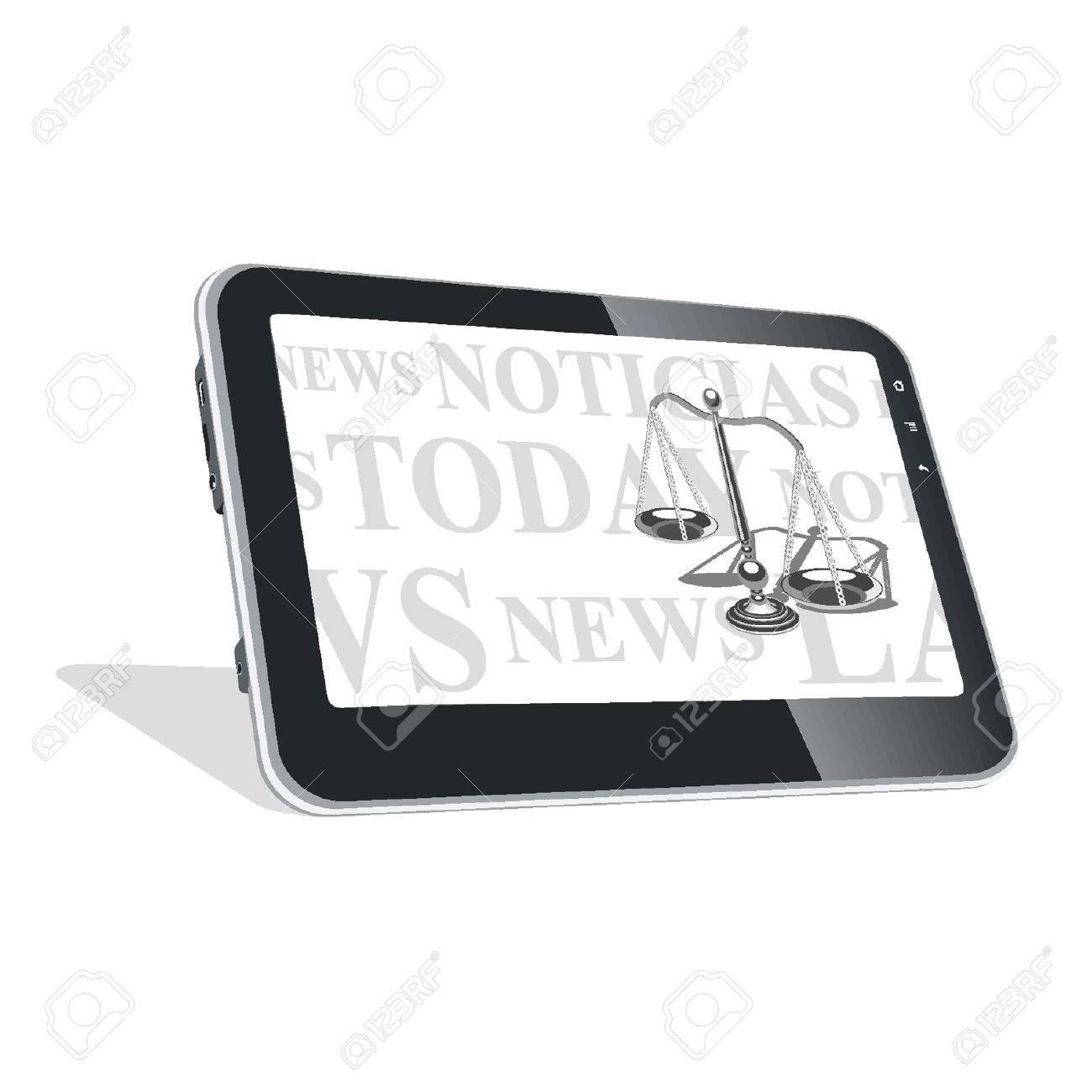 Tablet PC con noticias sobre las leyes Foto de archivo - 18134310