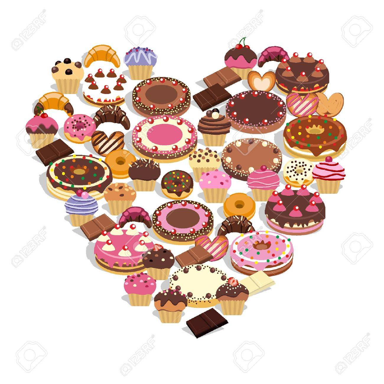 Sweets forming a heart Stock Vector - 18134318