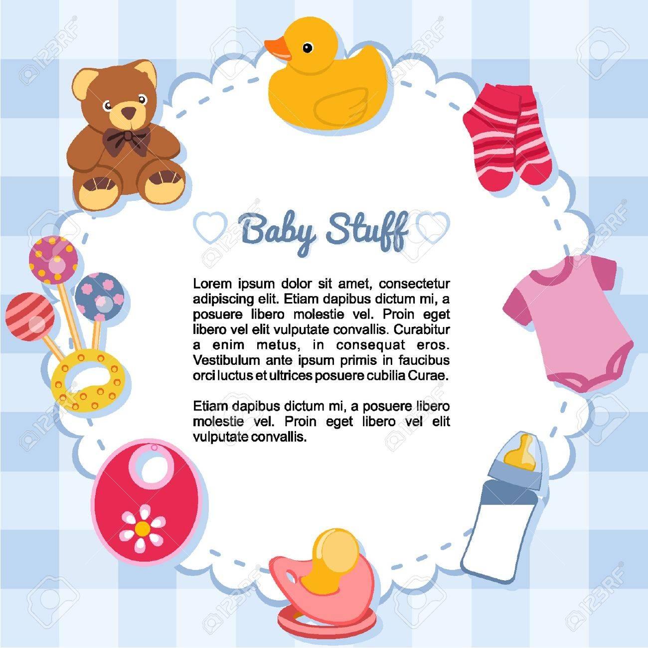 Objetos para bebés que forman un marco Foto de archivo - 18134307