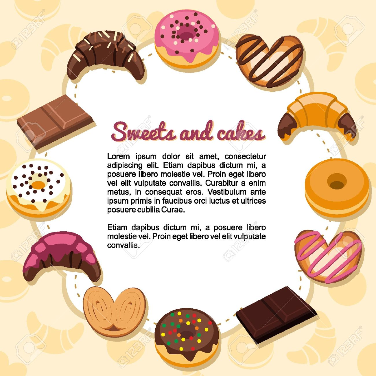 Sweets and pastries forming a frame Stock Vector - 18134316