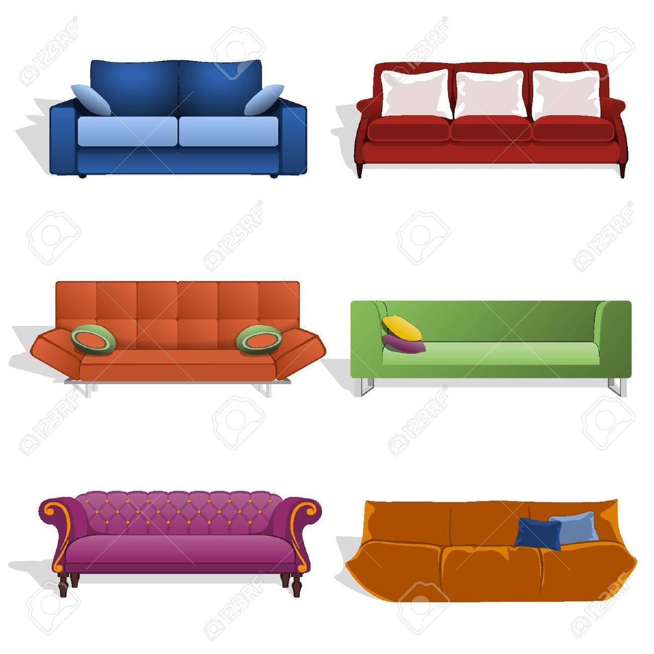 Sofás en diferentes colores y diseños Foto de archivo - 18134337