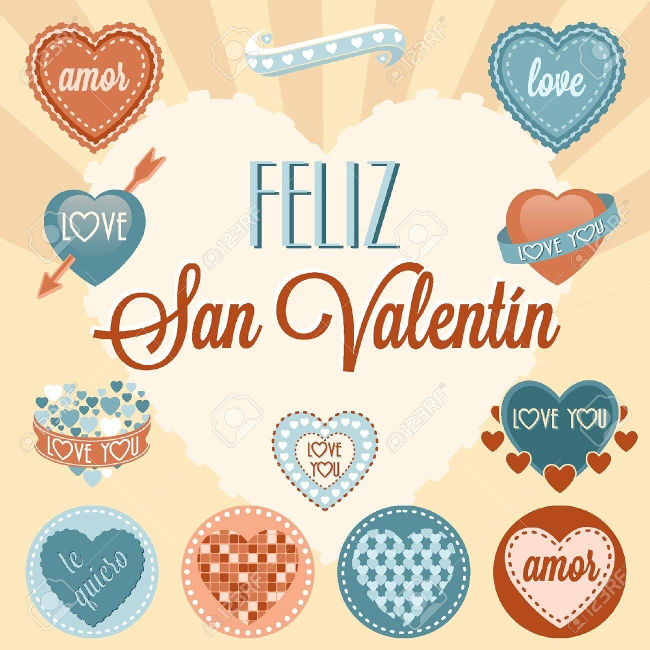 Ajuste de la vendimia de San Valentín s Foto de archivo - 18134319
