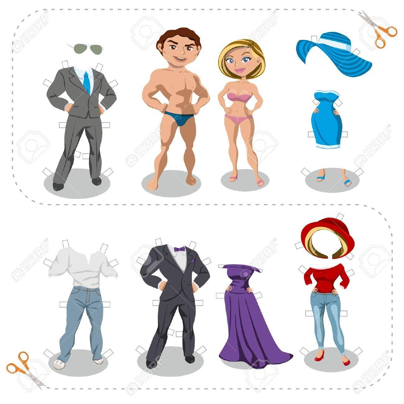 Juego recortes hombre y mujer ropa Foto de archivo - 18194486