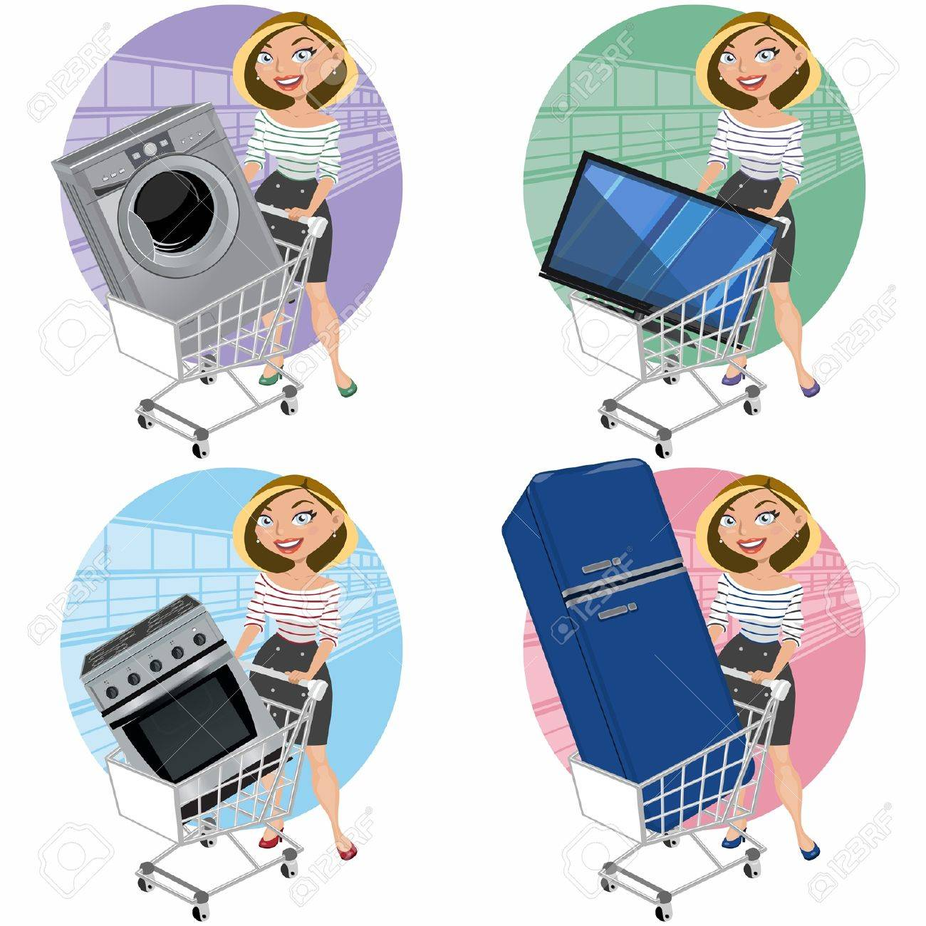 Las mujeres con aparatos en la cesta de la compra Foto de archivo - 18247671