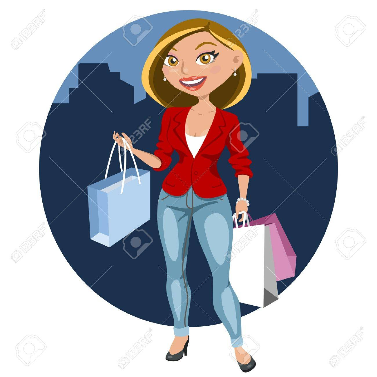 Beautiful woman shopping in the city Stock Vector - 18247672