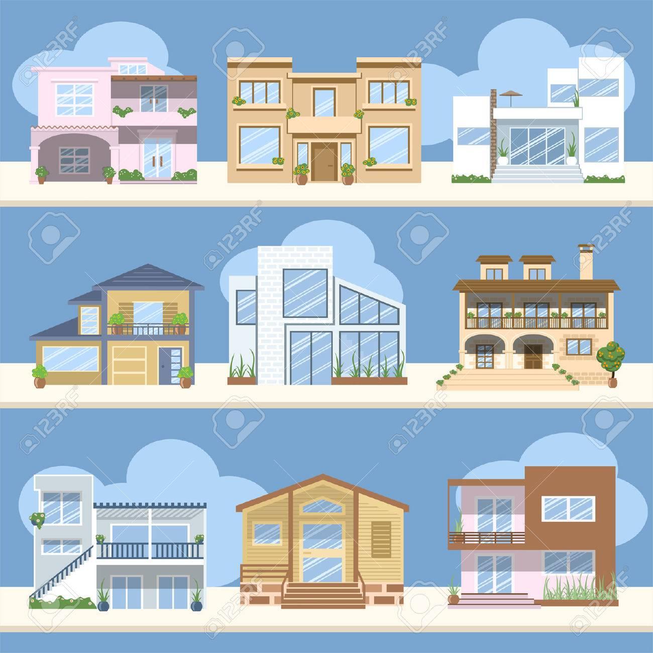 Las casas con hermosos colores y diseños Foto de archivo - 25427362