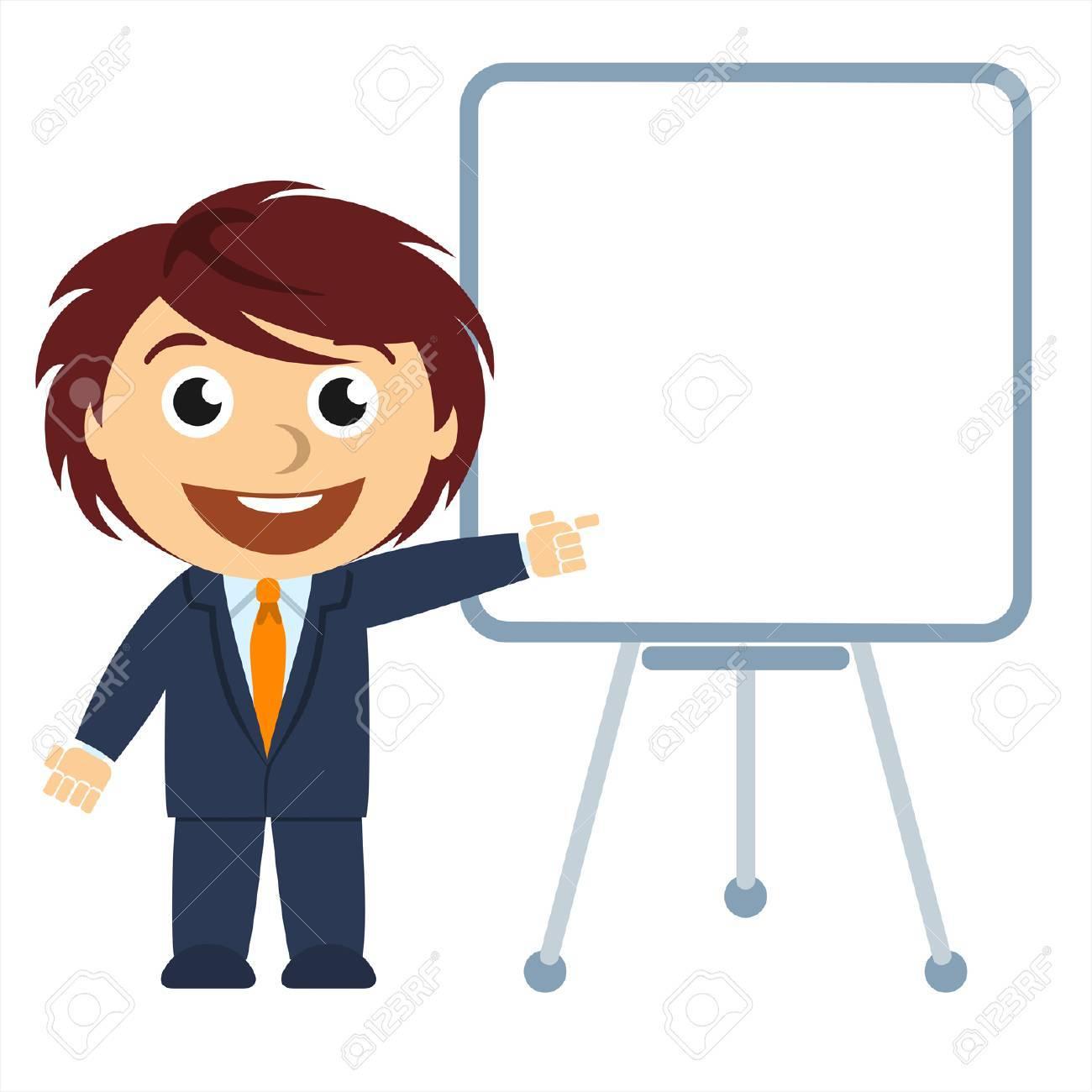 El hombre de negocios que muestra un gráfico en el tablero Foto de archivo - 25427448