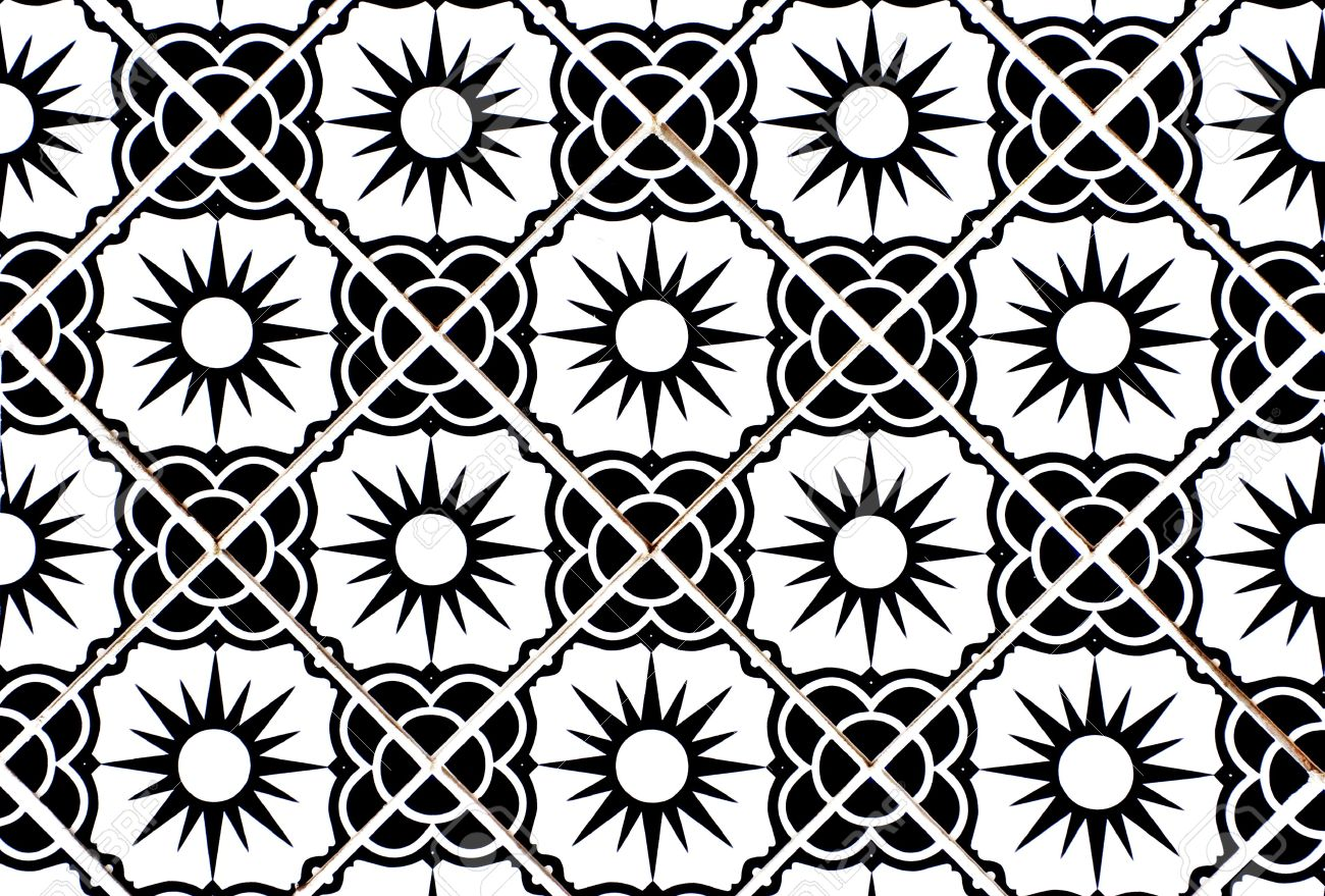Ceramic tiles with flower and sun motif in black and white stock photo 7615482