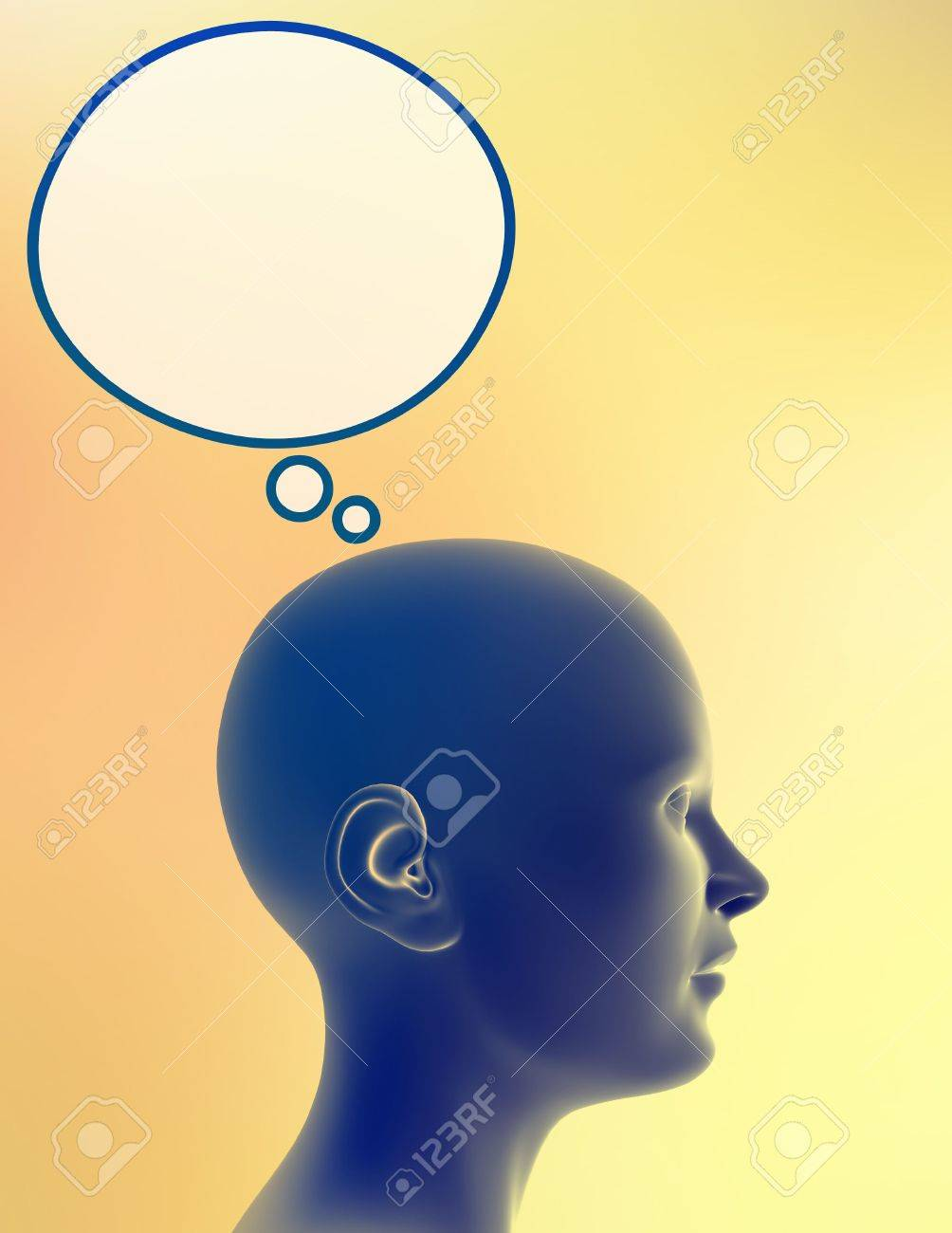 Woman alone, with bubble for thoughts above her head. Just add your text or image to the bubble. Stock Photo - 282449
