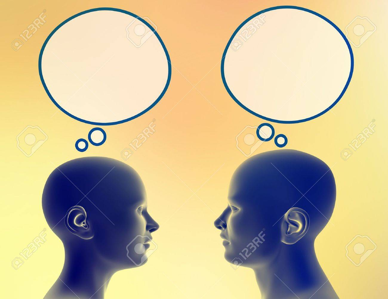 Woman and man share different thoughts. Just add your text or image to the bubble. Stock Photo - 290180