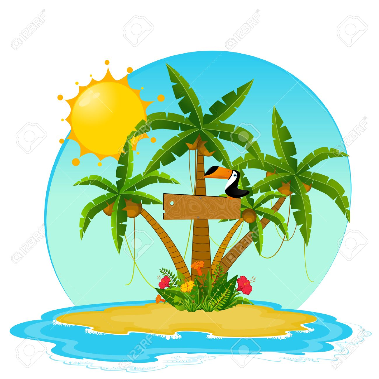 Small Island with tropical palms Stock Vector - 8190562