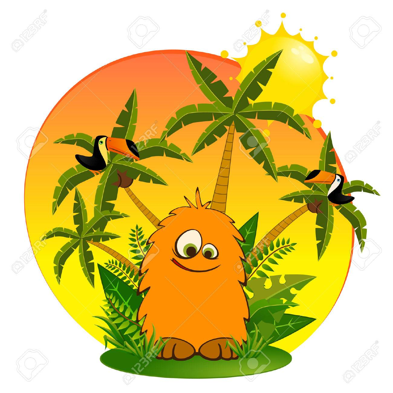 Funny little wild animal with parrots Stock Vector - 8190566