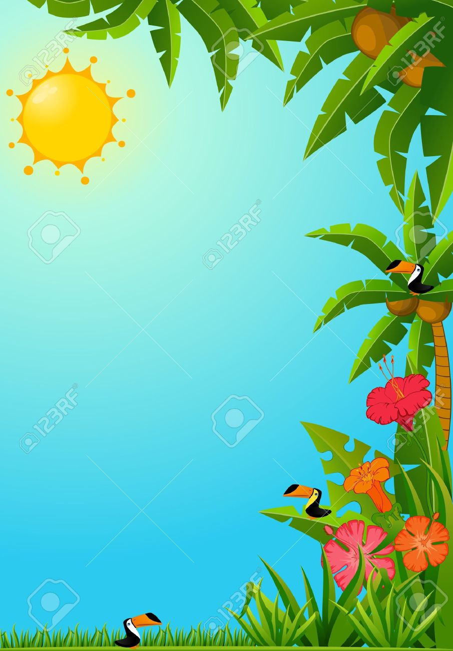 Background with tropical plants and parrots. Stock Photo - 8283405
