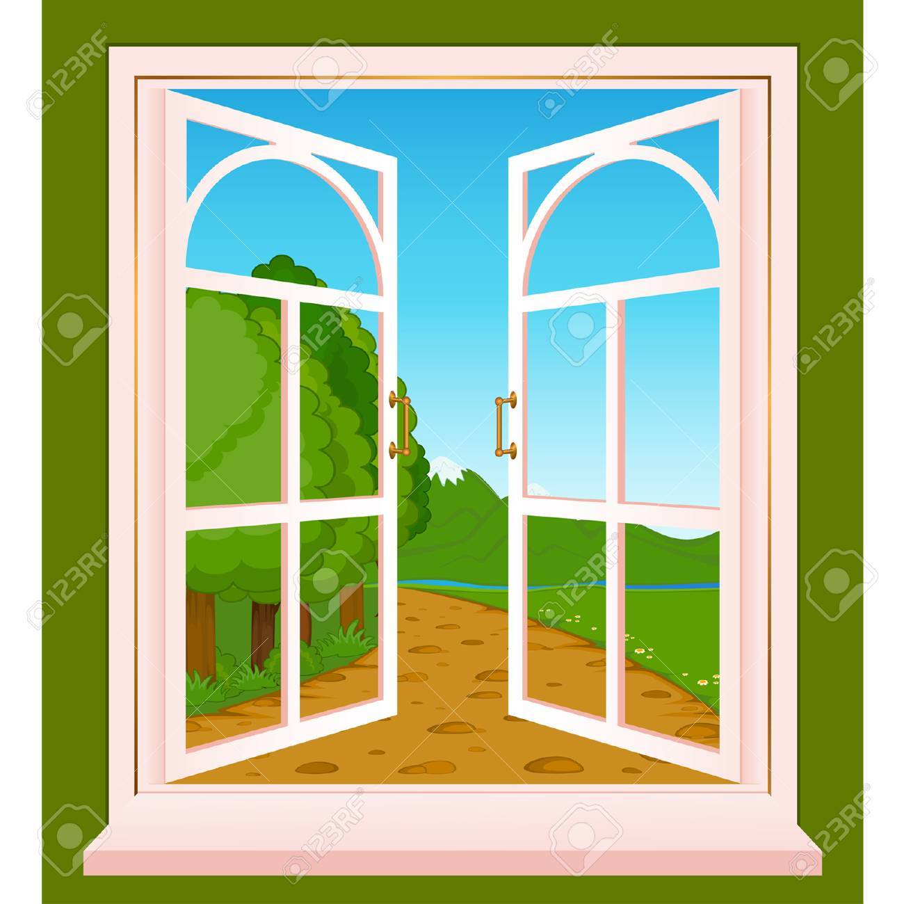 The summer landscape in Wood window Stock Vector - 8461162