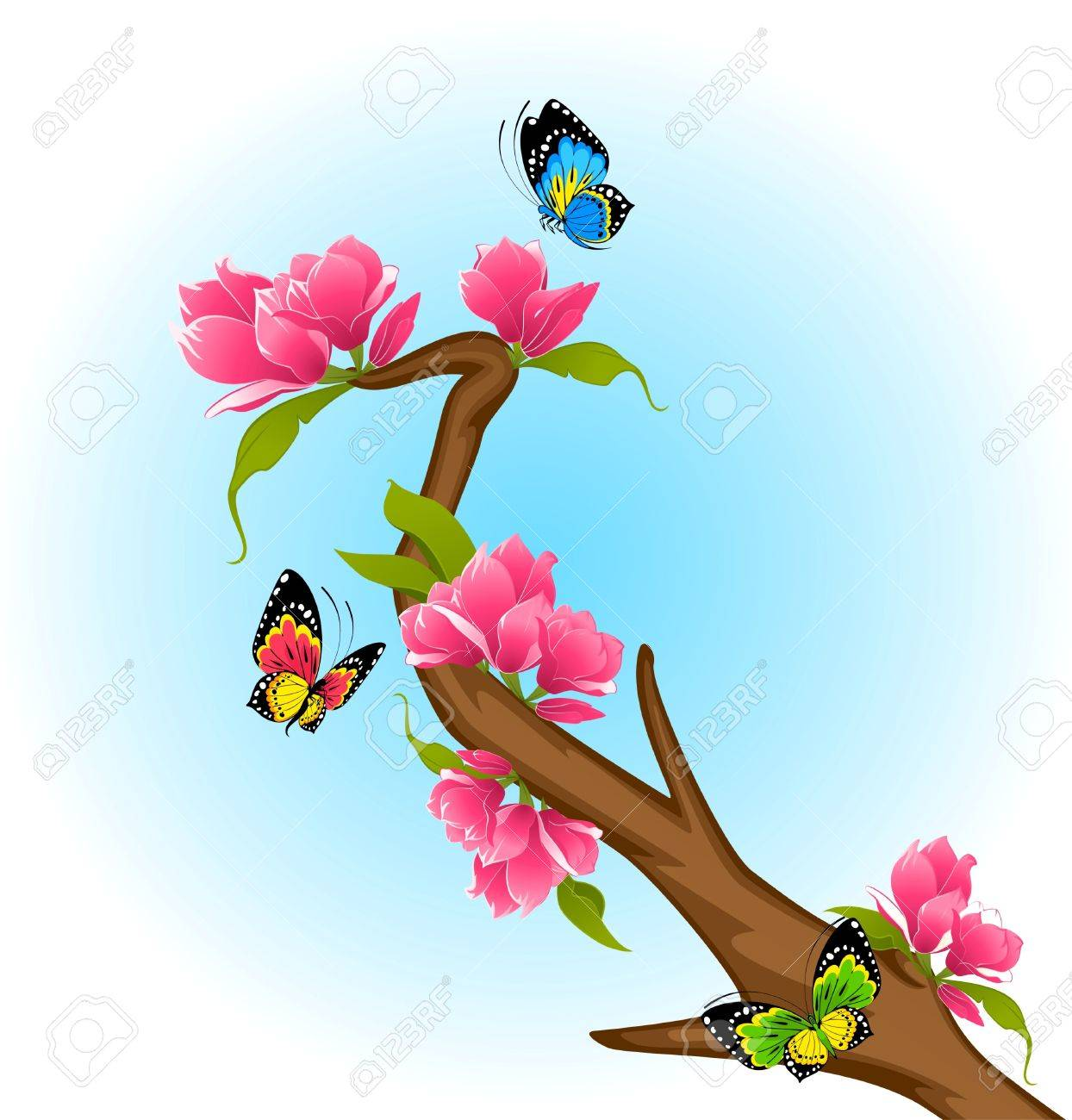 beautiful bonsai with flowers and butterflies stock photo picture