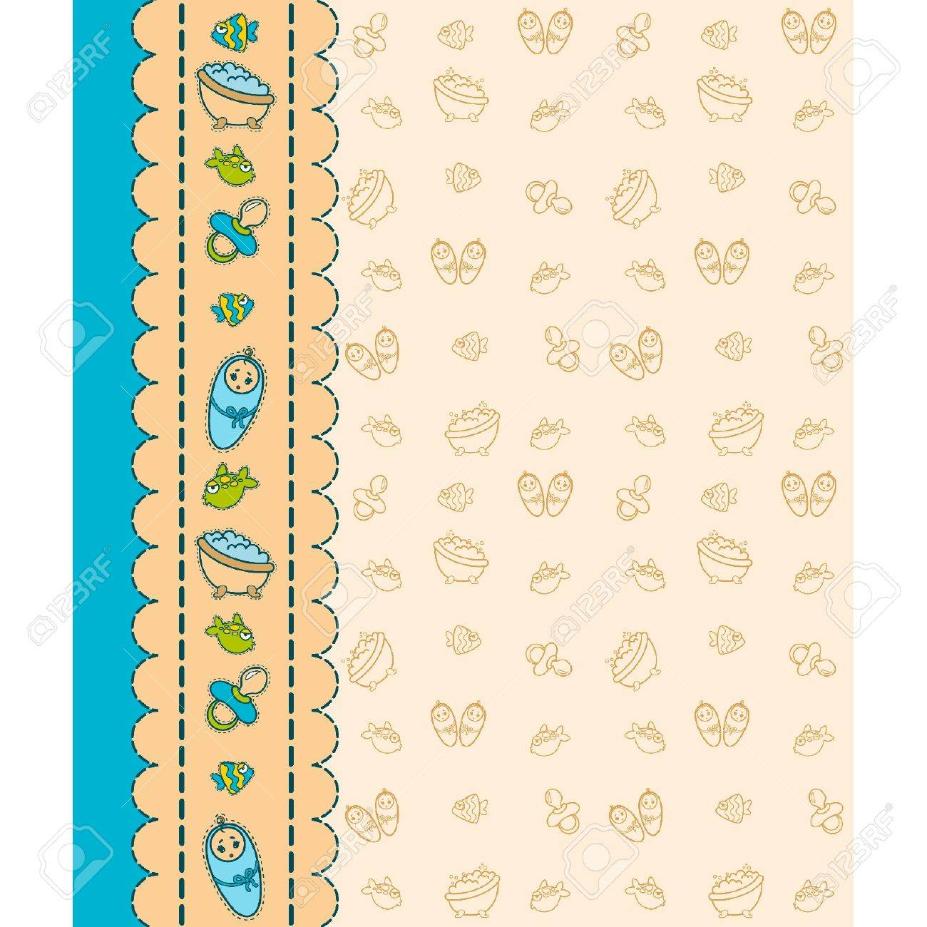 Vector beautiful background with baby icons Stock Vector - 9832695