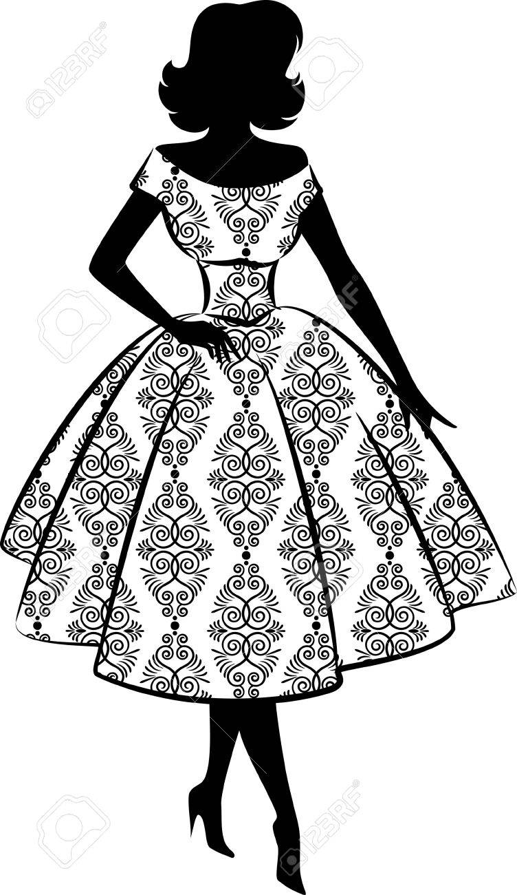 Vintage silhouette of girl Stock Photo - 10317455