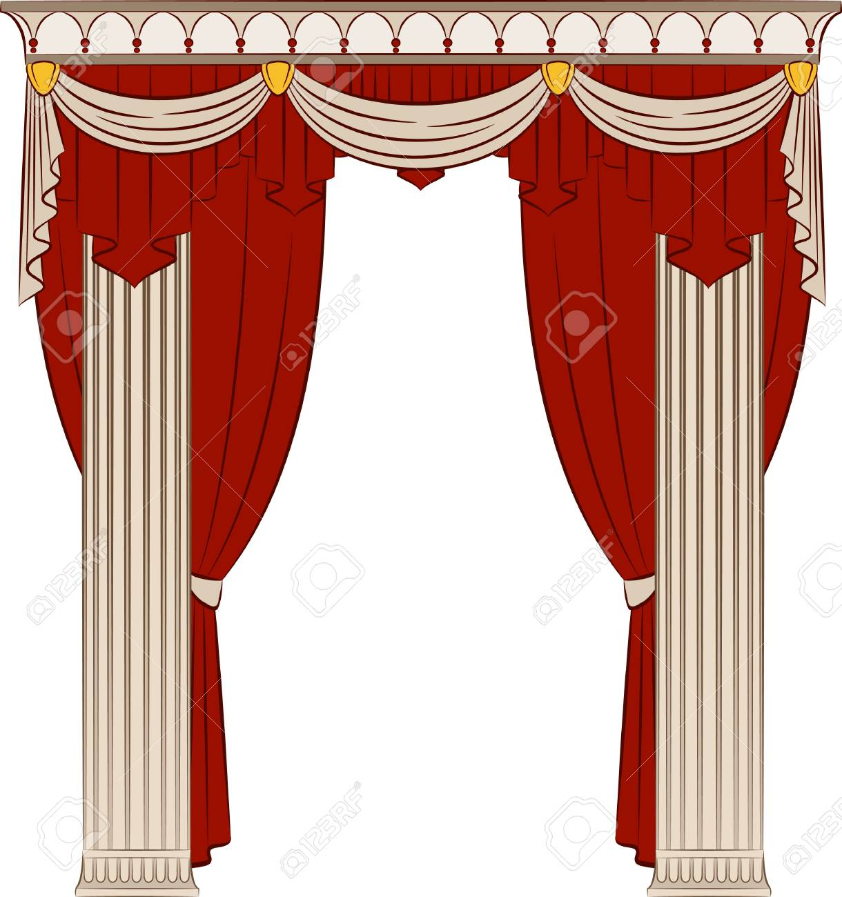 The vintage interior with curtain. - 10610759