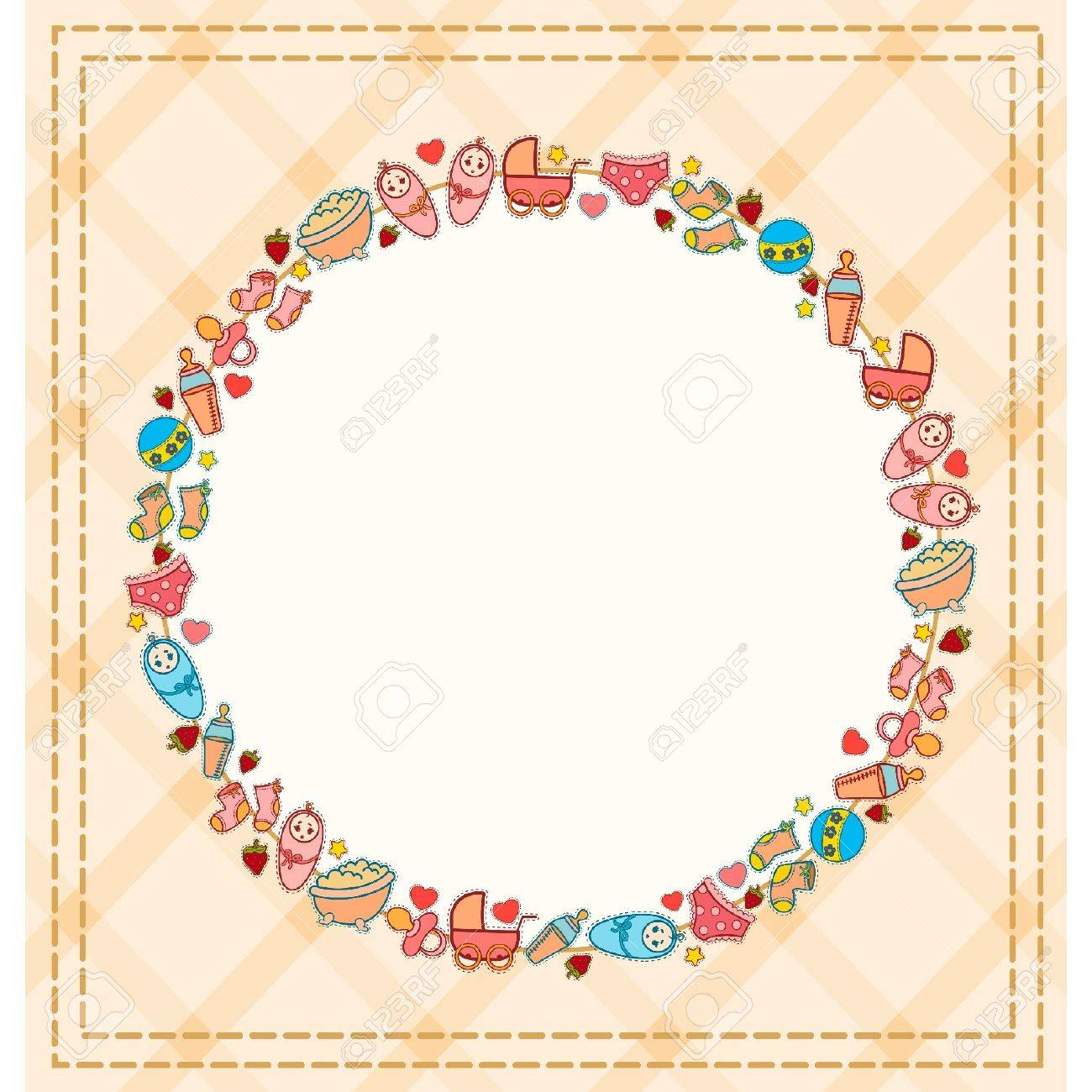 Beautiful background with baby icons Stock Vector - 10610788