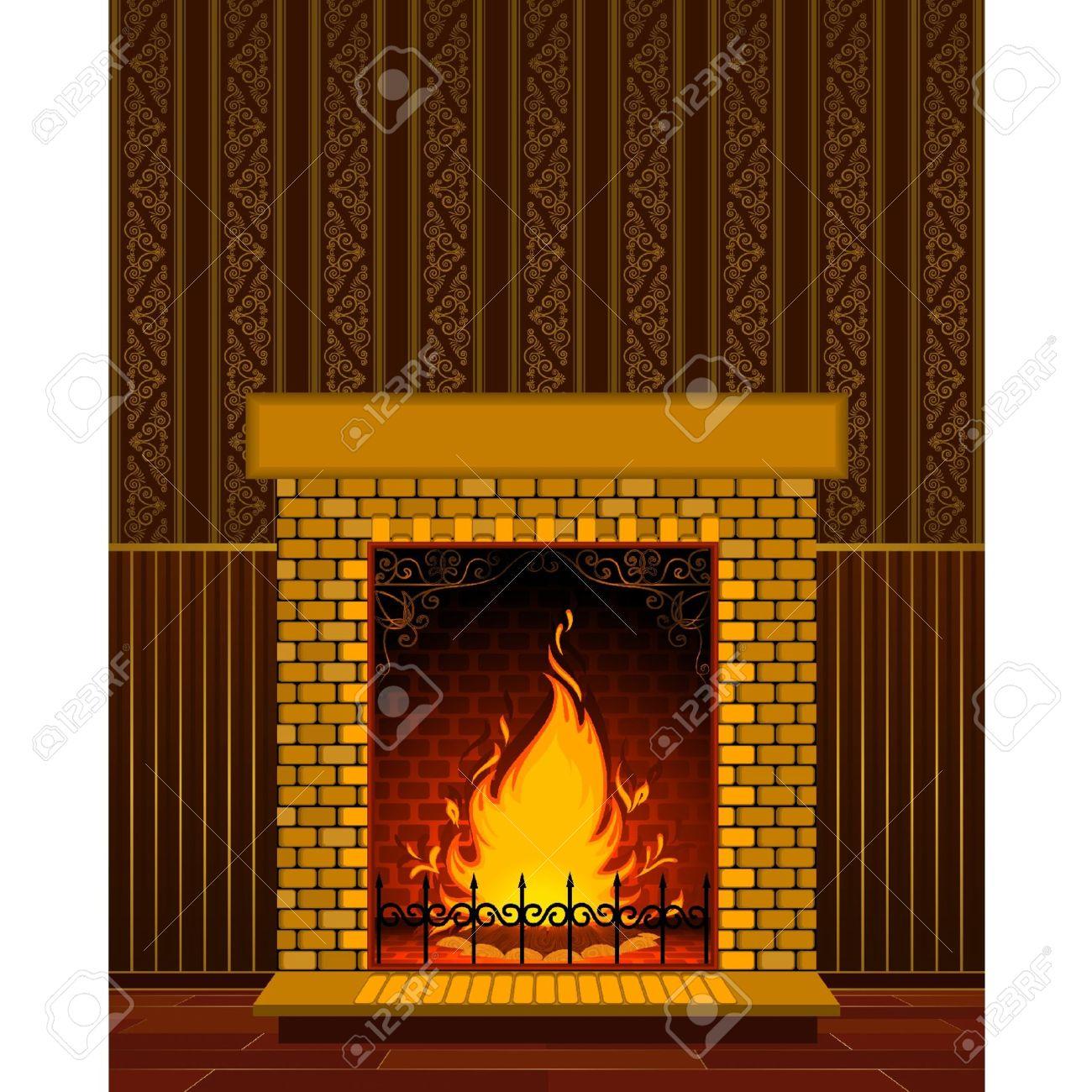 chimenea de piedra de lujo con llama foto de archivo