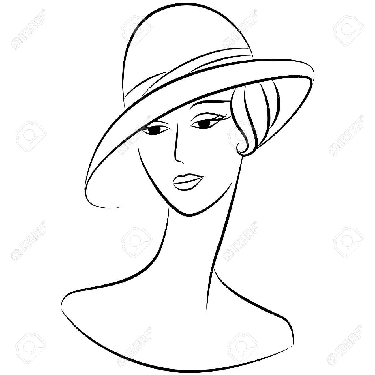 Vintage fashion girl in hat. Stock Vector - 10715164