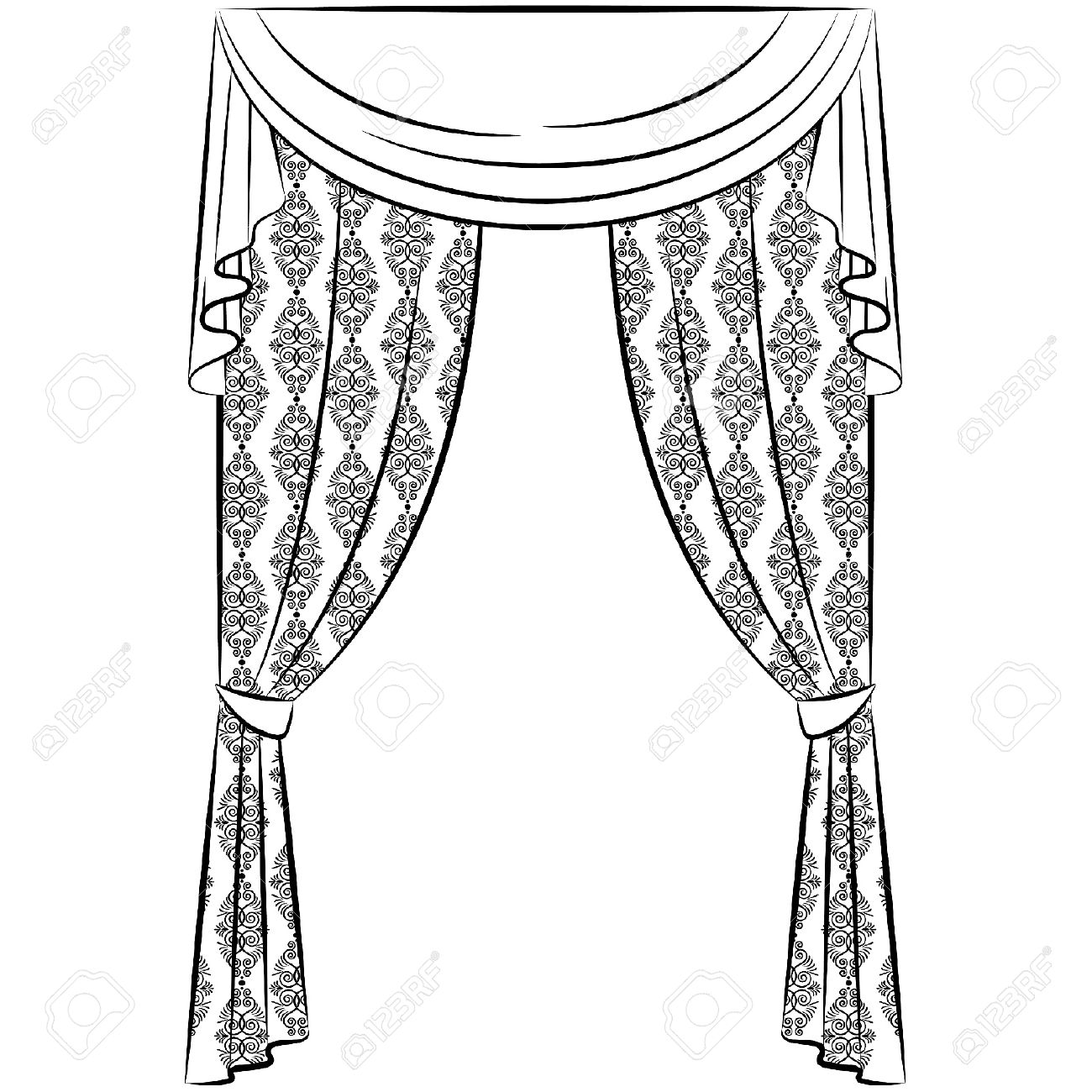 Curtain Clipart Black And White | Gopelling.net for Window Clipart Black And White  61obs