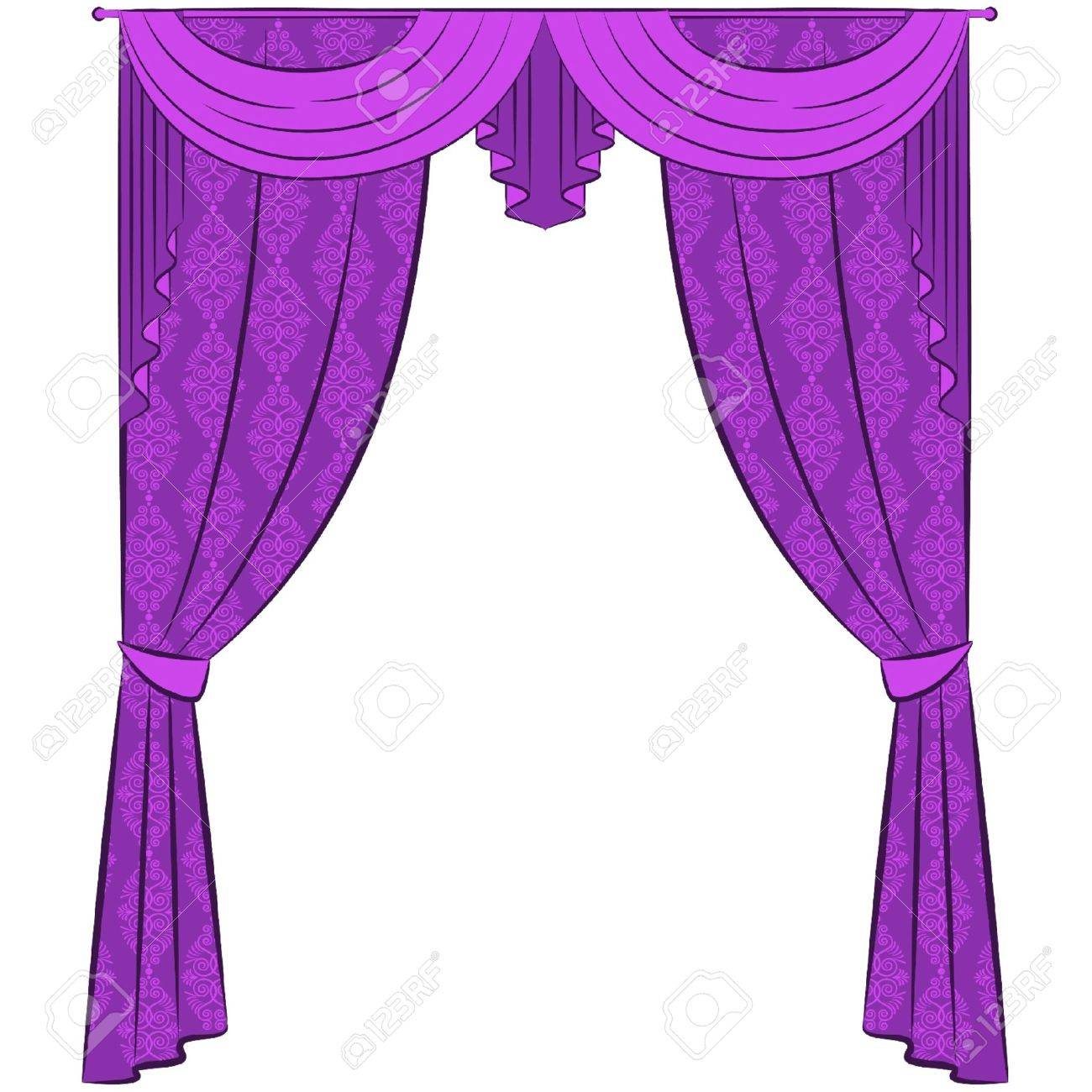 The vintage interior with curtain. Stock Vector - 10729665