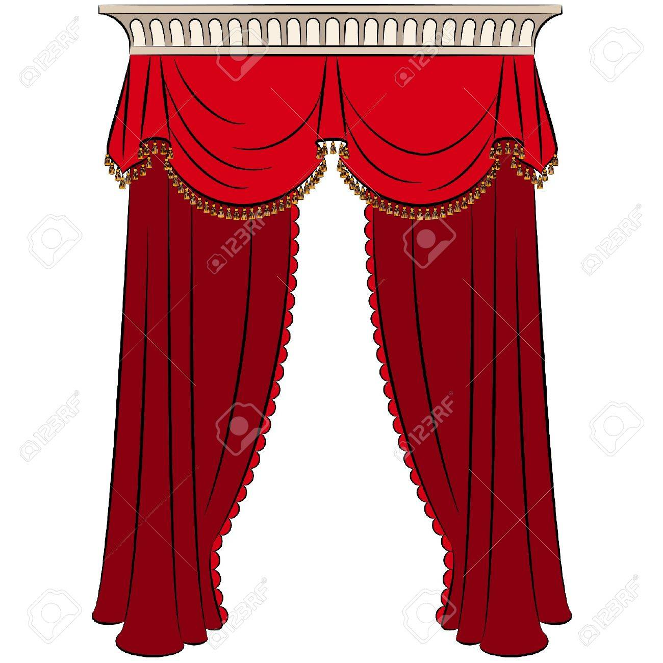 The vintage interior with curtain. Stock Vector - 10719491