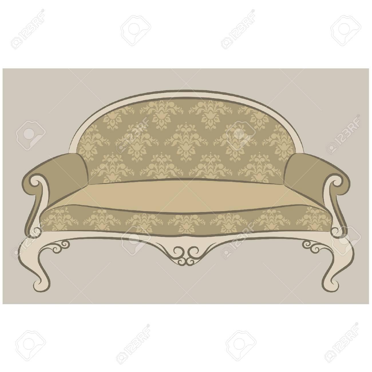 illustration sofa in vintage interior Stock Vector - 10729625
